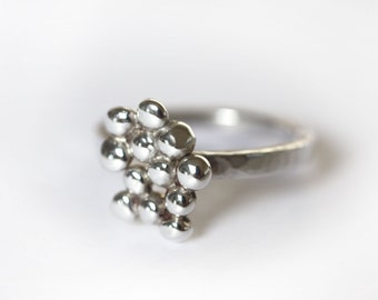 Silver Nugget Ring, Silver Ring, Silver Bobble Ring, Sterling silver Ring, Silver Bauble Ring