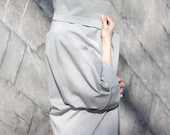 Trench coat / cotton coat in grey / long jacket / midi Cardigan / High Collar Jacket / business casual / Women's Outerwear / industrial