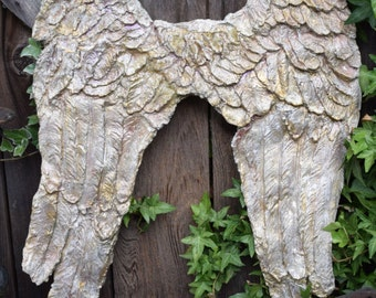 So shabby Château chic Angel Wings handmade with paper clay ANGEL WINGS