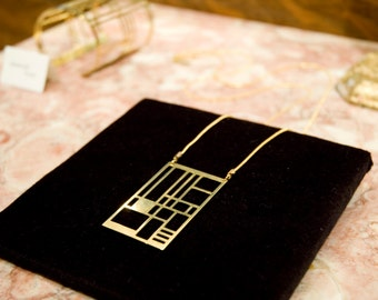 SALE 30% OFF !!! EDITH_Long geometric Art Deco/Mondrian inspired very long brass necklace