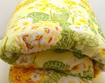 Vintage Yellow and Green Bedspread, Huge King Size, Gorgeous Spring Floral Polyester, circa 1970s