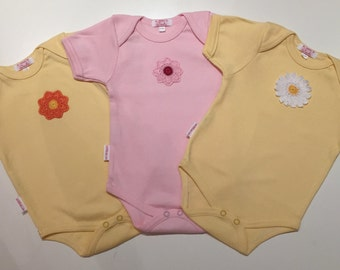 Onesie 100% cotton with crocheted flower detail