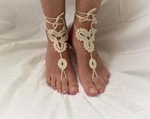 Crochet  barefoot sandals, made of high quality mercerized cotton yarn,beachwear,bridesmaid accessory,wedding accessory