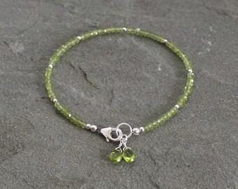 Peridot Bracelet, Peridot Gemstone Bracelet with Dangles, Sterling Silver, Natural Stones, Green Bead Bracelet, Beaded Peridot Jewelry