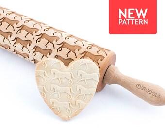 Dressurpferd - geprägt, graviert Nudelholz für cookies
