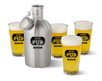 Beer Growler & Pint Glass Set- Personalized, Beer Growler Set, Pint Glass Set, Neighborhood Pub Growler and Pint Glass Set