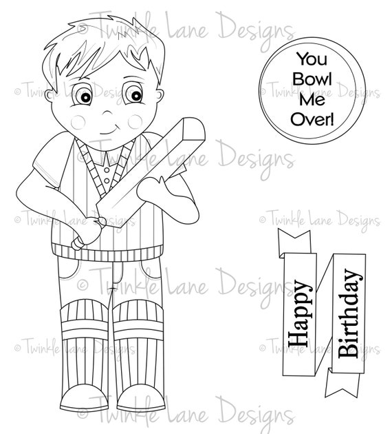 Cricket Boy Digi Stamps, Two Sentiments, Colouring Page, Sports, Instant Download, Digital Stamp, Printable Card Topper, Cardmaking, Crafts