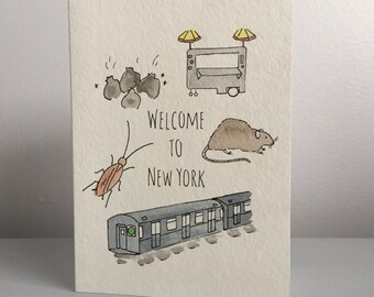 Welcome to New York handmade watercolor card