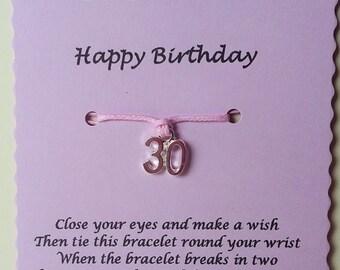 30th Birthday Gift, Wish bracelet, Friendship Bracelet, 30th Charm Bracelet, 30 today, Birthday gift, 30th Birthday Bracelet, Gift 30th