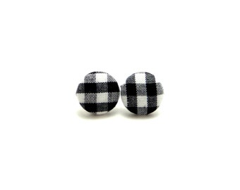 Black & white gingham fabric covered button earrings, gingham earrings, black gingham button earrings, black gingham earrings, gifts for mom