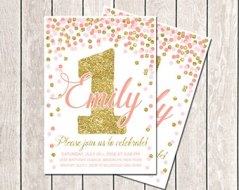 Any Age Coral Pink Gold Confetti Birthday Invitation First Birthday Invitation Coral Gold Girl Birthday Invitation Printable Invitations