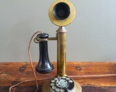 Antique Brass Candlestick Telephone, Rotary Dial Candlestick Phone, 1915 Patent