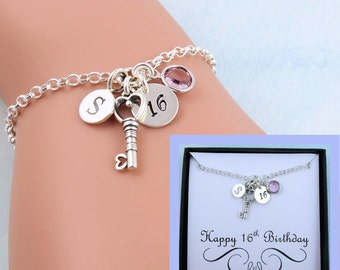 Personalized 16th Birthday Bracelet With Custom Message Card, Sweet 16 Gift, 16th Gift, Birthday Gift For Her, Birthday Jewelry, Birthstone