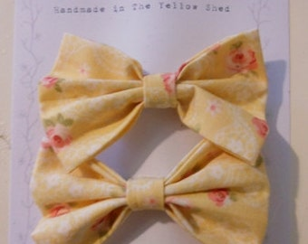 Set of 2 Fabric Bow Hair Clips, Yellow with Roses