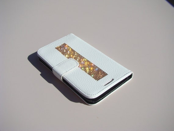 "Galaxy S6  "" Edge "" Rose Gold Rhinestone Crystals on White Wallet Case. Velvet/Silk Pouch bag Included, Genuine Rangsee Crystal Cases."