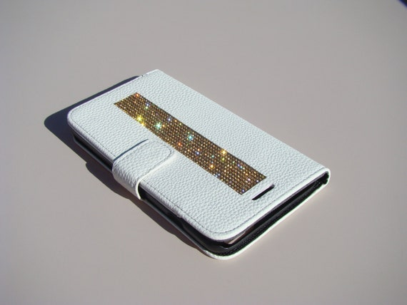 iPhone 6 Plus / 6s Plus Gold Topaz Rhinestone Crystals on White Wallet Case. Velvet/Silk Pouch bag Included, Genuine Rangsee Crystal Cases.