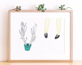 Art print A4 - Cactus - Hairy legs - Serie West -  Limited Edition of 50