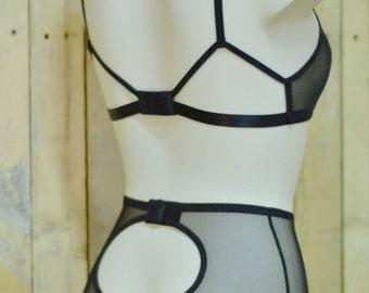 High waist panties / knickers , black mesh, handmade to order. Vintage inspired.