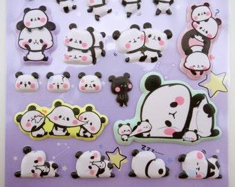 Japanese mochi panda galaxy stickers - kawaii puffy stickers - kawaii panda stickers - mochi stickers - kawaii stickers, cute panda stickers