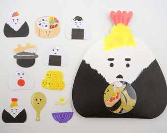 Japanese onigiri sticker flakes! Kawaii stickers - bento box stickers - sushi rice stickers - kawaii emoticon stickers - cute food emoji