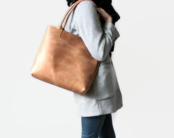 large camel brown distressed leather tote bag, leather tote, leather bag, raw leather tote bag