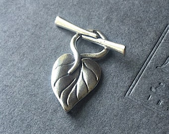 Toggle Clasp Sterling Silver Leaf Clasp Focal 25mm x 12mm