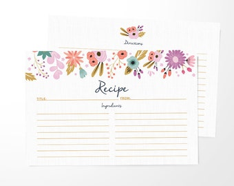 Recipe Cards Set of 15, 30 or 50  - Floral Border Design - 4x6 Recipe Cards - High Quality Linen Cardstock