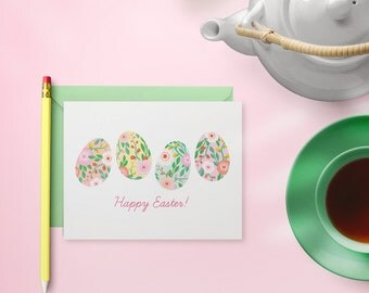 Happy Easter Card Set - Boxed Cards - Floral Easter Eggs Design