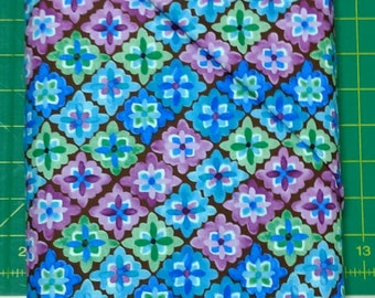 Bella fabric. blue green purple diamonds brown cotton quilting Exclusively Quilters 4369