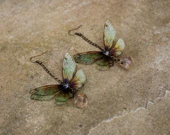Beautiful Amber Butterfly/Fairy Wing Earrings