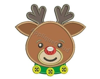 Rudolf Reindeer applique design ~ Rudolf the red nosed Reindeer applique embrtoidery design ~ INSTANT DOWNLOAD digital file