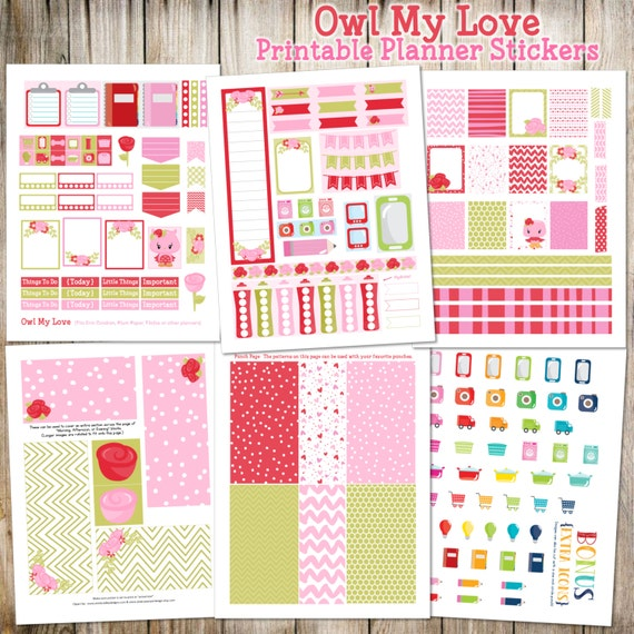 """Valentine's Day { February } """"Owl My Love"""" Printable Planner Stickers (Made to fit Erin Condren, Plum Paper, Filofax, & other planners)"""