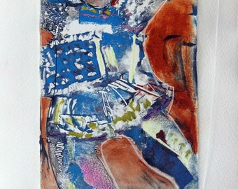 Whimsical art, original art , monotype, monoprint, one of a kind art, contemporary art, figurative art, wall art, colorful art, printmaking
