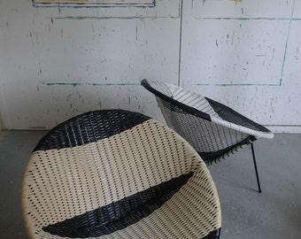 Pair Satellite / Bucket /  Chairs 50s / 60s  Retro Woven Mid-century