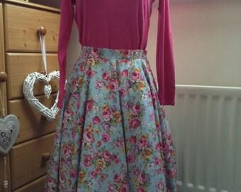 Full circle skirt, fifties vintage style handmade skirt, blue flowers, rockabilly retro skirt, swing skirt custom made