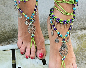 COACHELLA FESTIVAL Green Barefoot Sandals foot jewelry, anklet, hippie Bohemian style, beach party, Woodland Fairy, handmade Italy