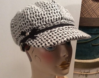 50% Off Sale Vintage Hat Stuff Black and White Hunting, Driving, Newsboy,Cabbie Hat/Cap