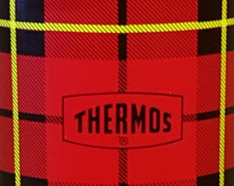 Vintage 1964 Red/Black/Yellow Plaid Quart Size 32 oz Hot/Cold THERMOS Vacuum Bottle Body# 2442  w/Cup # 84473 & Stopper# 722 by King Seeley