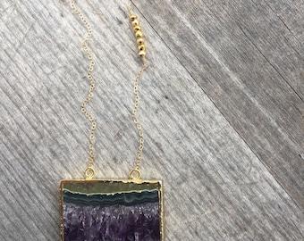 Purple Amethyst Slice Necklace - Amethyst Slice Pendant - Amethyst Slice - Purple Amethyst Slice Pendant
