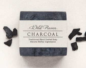 Charcoal Soap // Handmade with All Natural Herbal Ingredients // Traditional Cold Process // Unscented Vegan Soap