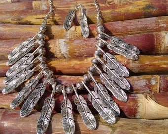 Antique Tribal Jewelry feather necklace Chunky Necklaces Large Necklaces for women Statement Necklace Boho Jewelry Feather Jewelry