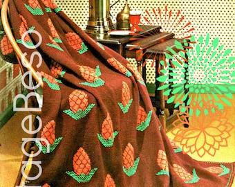 Afghan KNITTING Pattern Vintage 1960s Pineapple Knitting Pattern Instant Download Printable PdF Pattern