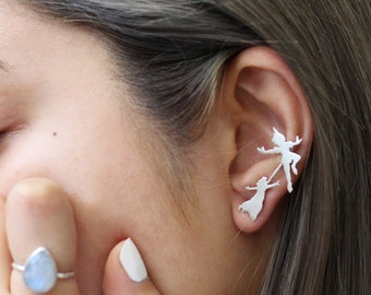 Peter Pan and Wendy Ear Pin/Climber.Peter Pan earrings. Silver Ear Crawler. Silver Earrings. Silver Ear Climber. Peter Pan Jewelry.Peter Pan