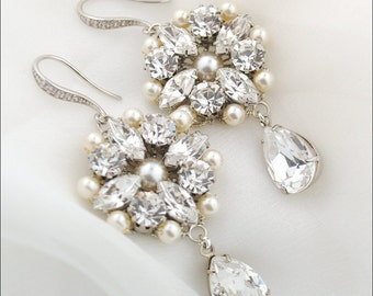 Couture wedding earrings - vintage glam bridal earrings - Swarovski crystal and pearl - wedding day earrings - Chloe earrings
