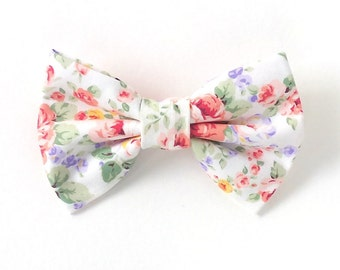 Hair Bows for Teens | Floral Fabric Hair Bow for Teens | Bows for Girls | Spring Hair Bow | Hair Clip for Women | Bows for Women