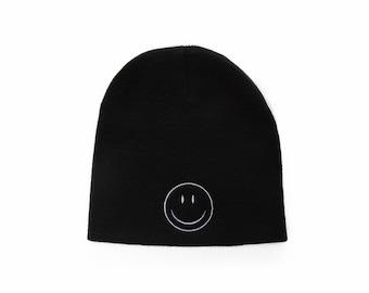 Smiley Face Beanie, Smiley Face Hat, Short Beanie, No Cuff Beanie, Embroidered Beanie