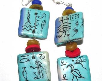 Hieroglyphs on turquoise (faux) long dangling earrings