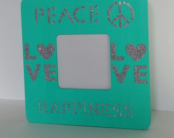 Peace Love Happiness - Square Picture Frame