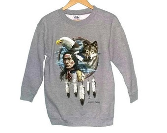 Vintage Native American Sweater Crew Neck Wolf and Dream Catcher and Bald Eagle Indian Navaho Color Grey Size Small