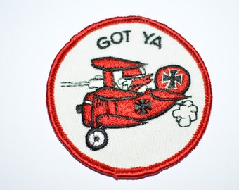"""Got Ya - Red Baron Biplane Dogfight- 3"""" Sew-On Vintage Embroidered Patch Fighter Pilot Jacket Patch Vest Patch Sewing Applique e12"""